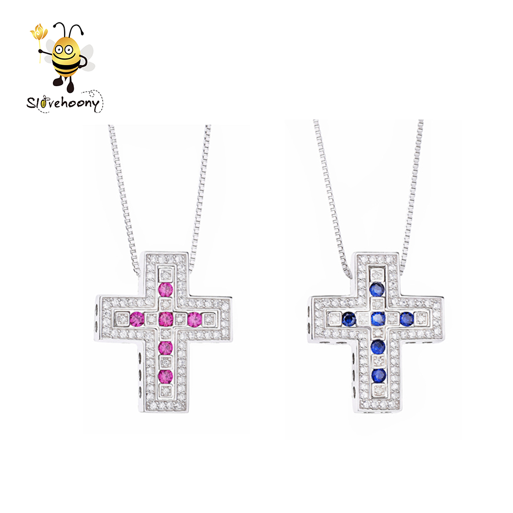 Slovehoony Belle Epoque Double Cross Pendant Necklace For Men Pure 925 Sterling Silver Wedding Cross Necklace Handmade 6 Colors фото