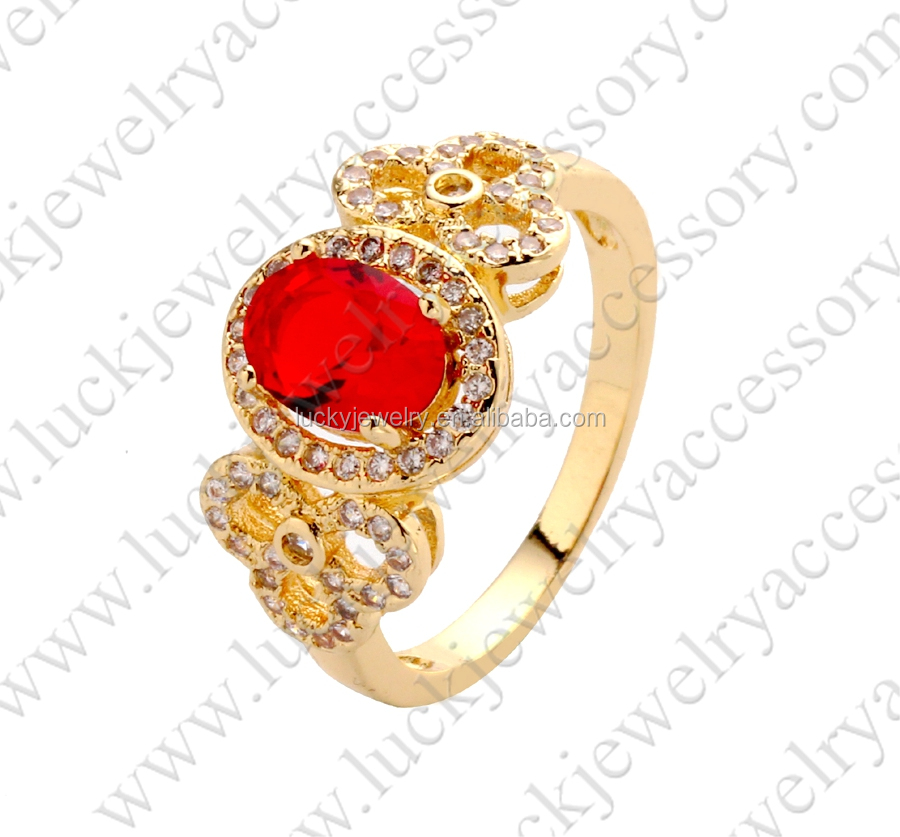 2016 Unquire Red Stone Gold Ring Fashion Design for Girls Wholesale