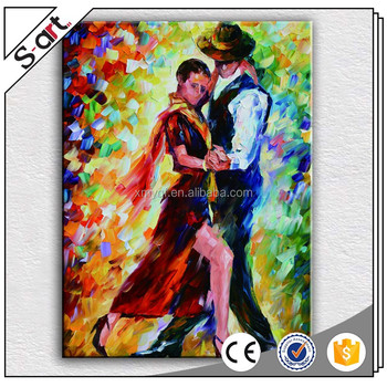 Handpainted Dance Lover Human Figure Oil Painting For Modern Living Room Home Wall Decoration