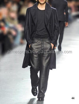 Mens Leather Dress Pants Fashion Leather Pants With Cuffs High