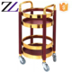 Hospitality equipment supplies round commercial luxury gold wooden food serving cart designs with wheels solid wood tea trolley