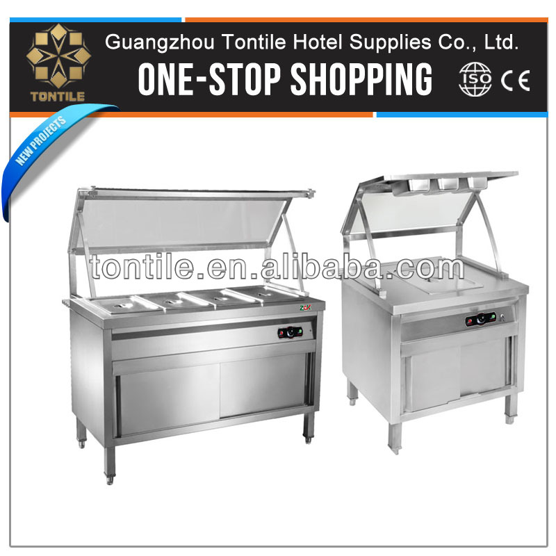 Hotel restaurant kitchen equipments buffet heating appliance bain marie with sneeze guard