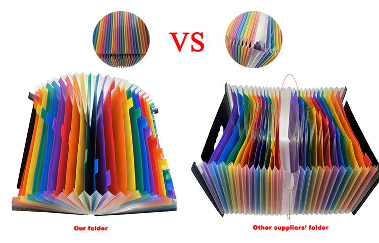 โรงงานราคาพลาสติก A4 กระเป๋าสีสันขยายแฟ้มโฟลเดอร์