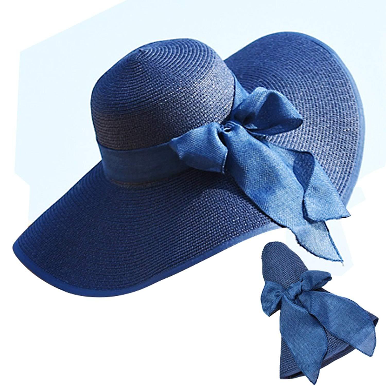 51207cc3292 Get Quotations · Women s Big Brim Hat Straw Hat Summer Beach Hat Floppy  Ladies Outdoor Hats (Navy Blue