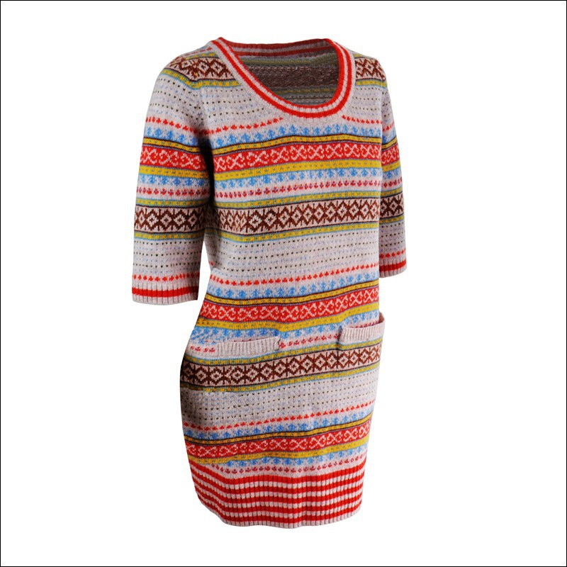 Red Jacquard Crewneck Long Sleeve Pullover Wool Handmade Sweater ...