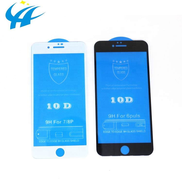 Quality guarantee mobile phone accessories 10D Tempered Glass Screen Protector for iPhone 7 8 9H Curved Edge Glass Full Cover