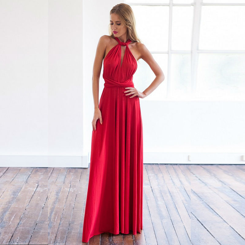 Sexy Hot Women Dress 2015 New Long Dresses Solid Red Color Backless Maxi Vestidos Autumn Summer Special Design ZMG0290