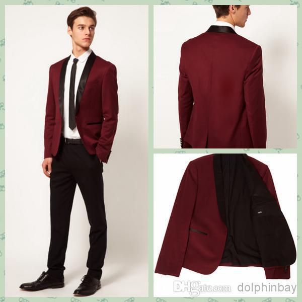 Black suit white shirt pink tie