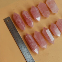 Wholesale Natural Pink Rose Quartz Raw Crystal points Double terminal Points Wands For Sale