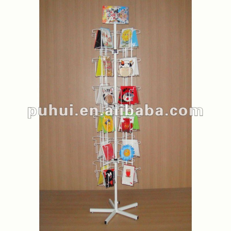 retail souvenir store fixture iron rod form pocket frame floor stand metal wire custom spinning  greeting cards display rack