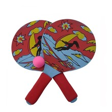 Houten Strand <span class=keywords><strong>Racket</strong></span> Paddle Game Bal Set Met Foam Handvat