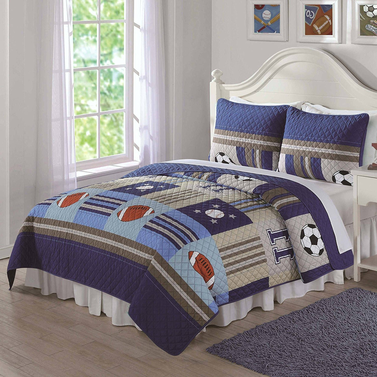 3pc Boys Tan Navy Royal Blue Grey Full Queen Quilt Set, Cotton, Sports Themed Kids Bedding Patchwork Graphic Soccer Football Baseball Striped Stylish Fun Colorful Bold Athlete, Microfiber