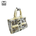 Elegant silver crocodile pattern horn button Suede women tote handbags