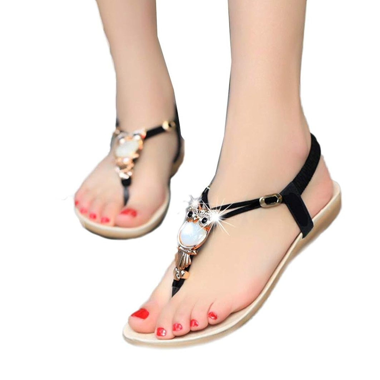 fcd8e7a6ffa04 ... Get Quotations · Fullkang Women Cute Rhinestone Owl Sweet Sandals Clip  Toe Beach Sandals detailed pictures ...