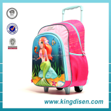 Fashion Girls Wheeled trolley school backpack kids trolley school bag for Students
