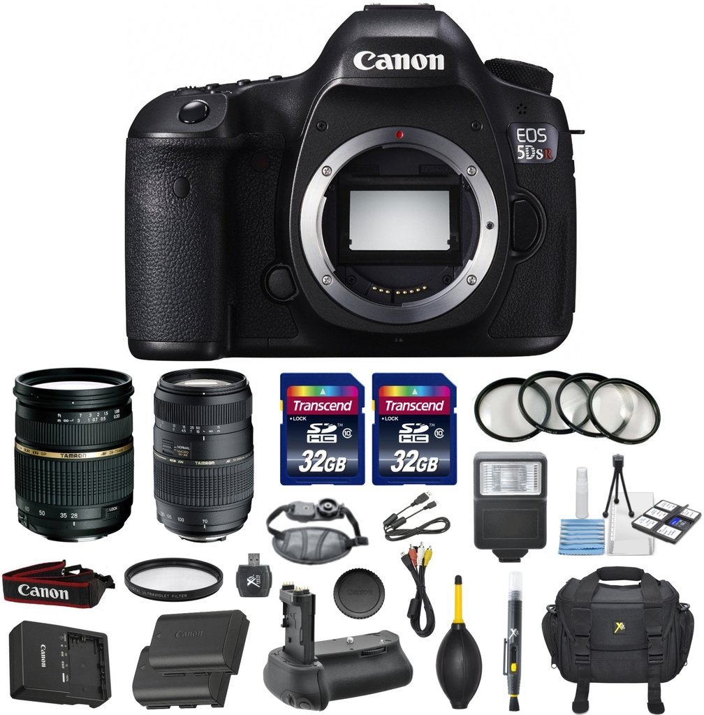 Canon EOS 5DS R Digital SLR with Low-Pass Filter Effect Cancellation Camera Bundle with Tamron AF 28-75mm f/2.8 Autofocus Lens & Tamron Auto Focus 70-300mm f/4.0-5.6 Di LD + Accessory Kit (17 items)