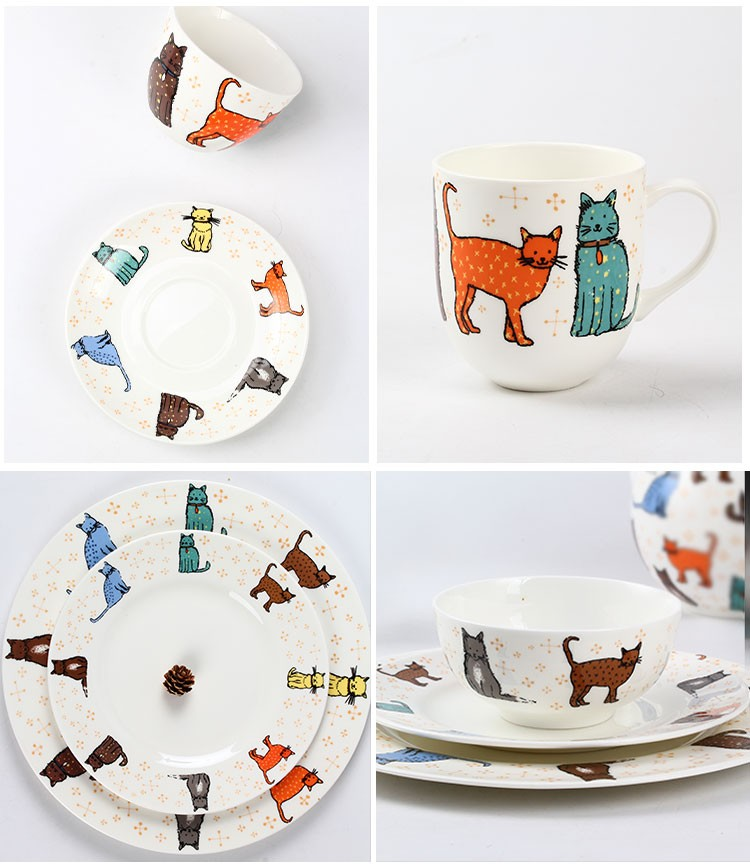 new design tableware dinner plate / cat pattern kitchen plates / queens bone china dining plate  sc 1 st  Alibaba & New Design Tableware Dinner Plate / Cat Pattern Kitchen Plates ...