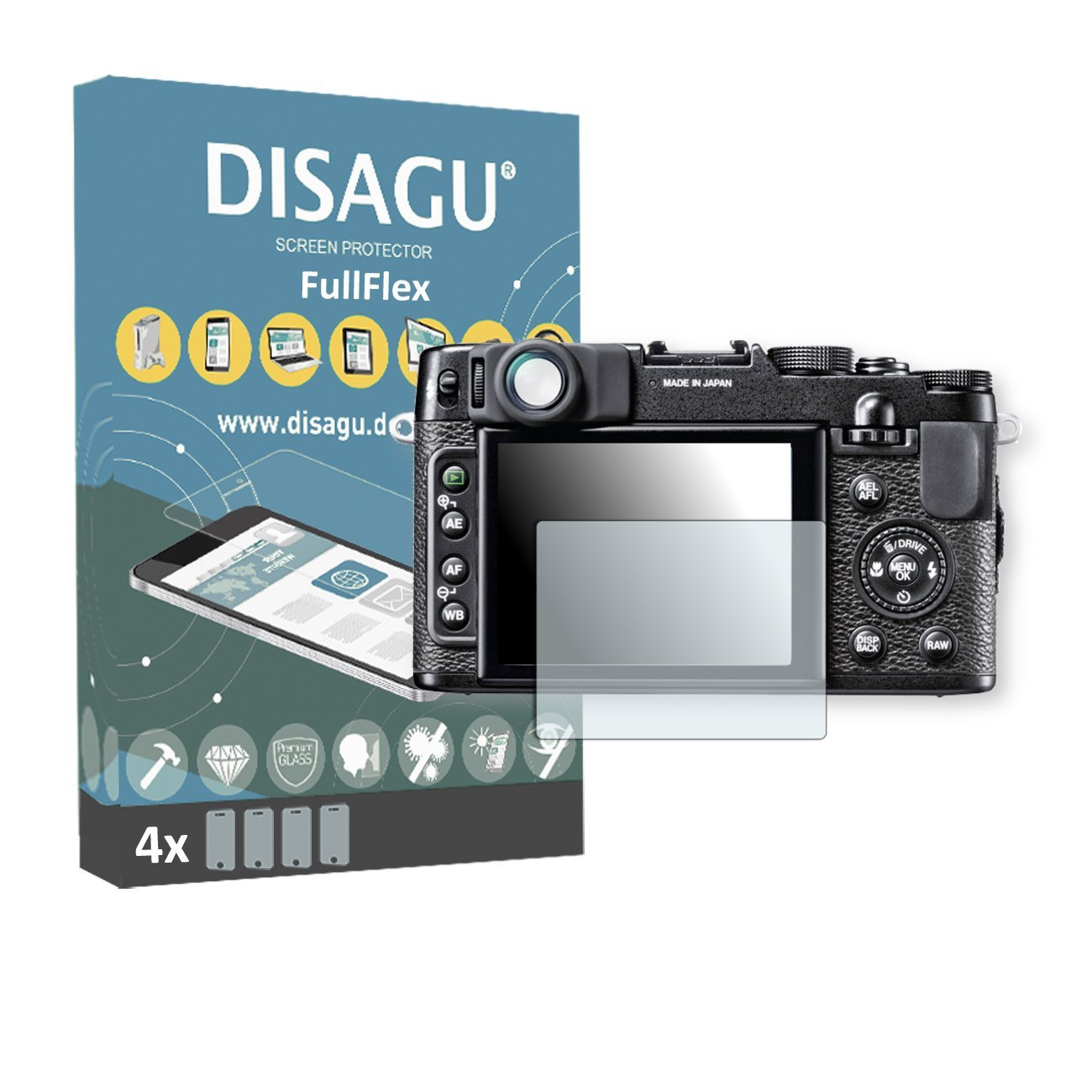 4 x Disagu FullFlex screen protector for Fujifilm X10 foil screen protector