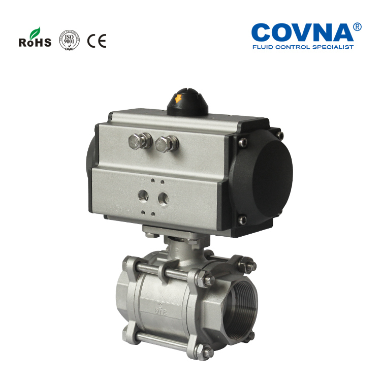 Spring Return Pneumatic Actuator with Thread Connection SS304 Ball Valve
