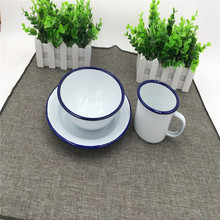 Solid White with Blue Trim Enamelware 3Piece Dinnerware Starter Set camping rice bowl mugs plate