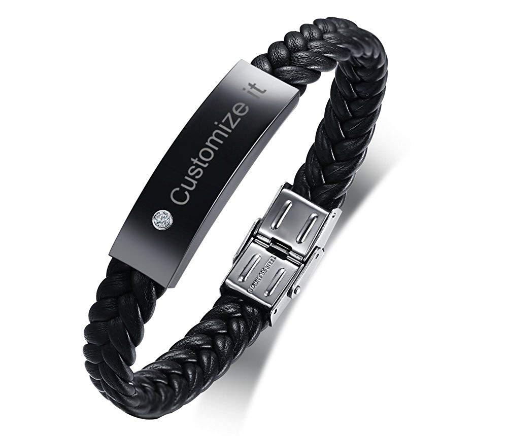 Mealguet Jewelry Personalized Black Stainless Steel ID Message Braided Leather Bracelets Jewelry for him,Custom Men Bracelet