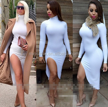 Club Outfit Porn - S30874A Sexy club dress porn 2015 high collar one side leg open hot long  drss