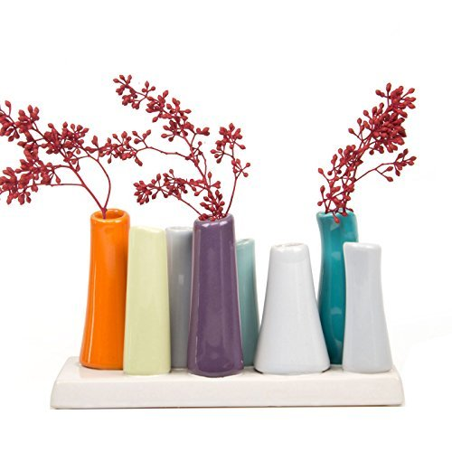Chive - Pooley 2, Unique Rectangle Ceramic Flower Vase, Small Bud Vase, Decorative Floral Vase for Home Decor, Table Top Centerpieces, Arranging Bouquets, Set of 8 Tubes Connected (Orange Purple Teal)