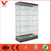 High quality frameless glass showcase with lockable led lighting , glass display cabinet