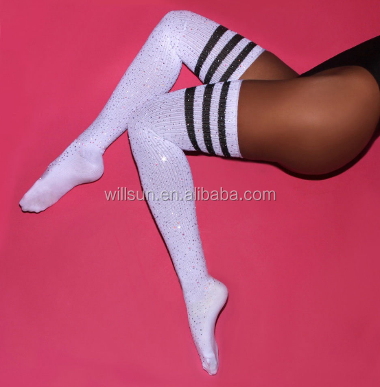 2017 wholesale Hotsale Fashion Sexy Women Girl Thigh High Striped Over the Knee Diamond Socks, Picture colors and customized