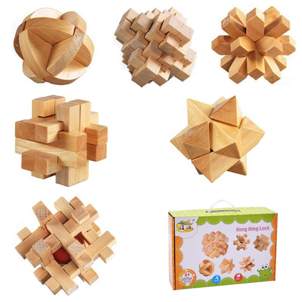 3D Wooden Puzzles Set,iDeep 3D Puzzles Wooden Classic Puzzles, Old China Kongming Luban Jigsaw Lock Puzzle Toy Gift for Kids and Adults 6 PCS in 1 Set