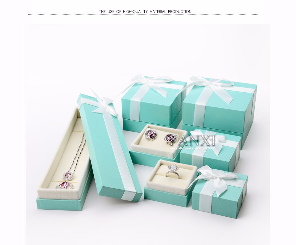 FANXI Wholesale Custom Jewelry Gift Box Ring Earrings Necklace Bracelet Package Box Green Leatherette Paper Box for Jewelry