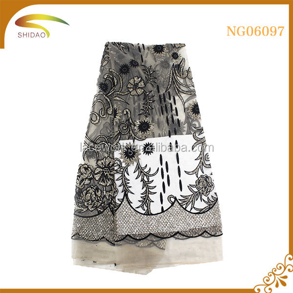 Guangzhou tokay floral tulle flocking lace fabric heavy black cord african french women dress
