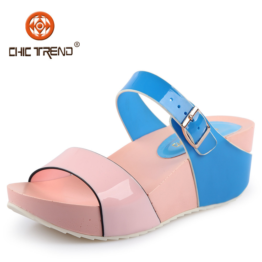 2015 Women Colourful Pvc Jelly Slippers Shoes Plastic Pu Wedge ...