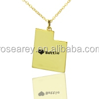 2017 popular jewelry design for women Custom Utah State Shaped Necklaces With Heart & Name