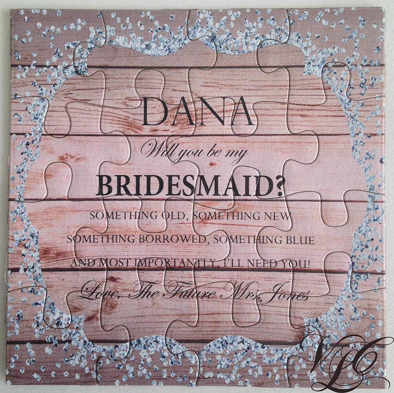 Bridesmaid proposal Rustic puzzle invitation Ask Bridesmaid PB010 Ask Maid of Honor Be my Bridesmaid Invitation puzzle Ask Flower Girl puzzle