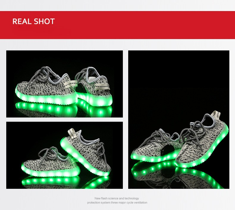 2016 Hot Style Fashion Children Usb Charging Shoes Colorful Led Leisure Boys And Girls Shoes Wholesale Flat Shoes Lace Up