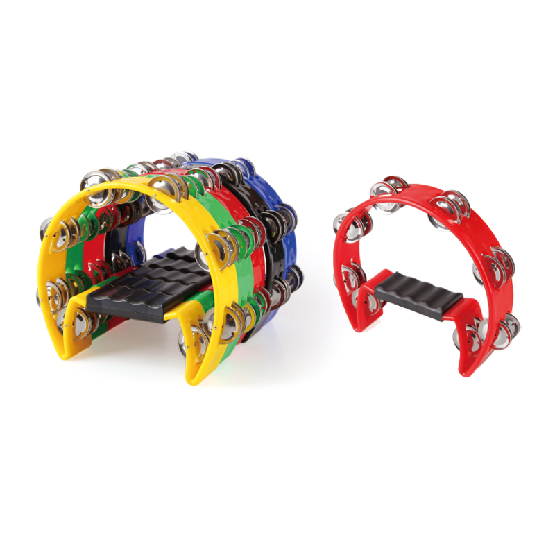 The jingle of a tambourine/kinds of musical tambourine dance percussion foot tambourine