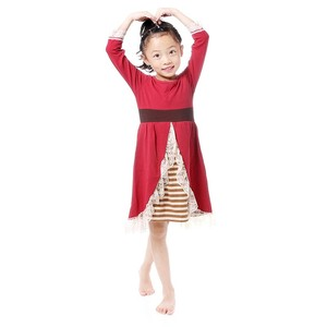 wholesale boutique lovely sweet little girls cocktail party evening dress kids burgundy dress with lace decorative