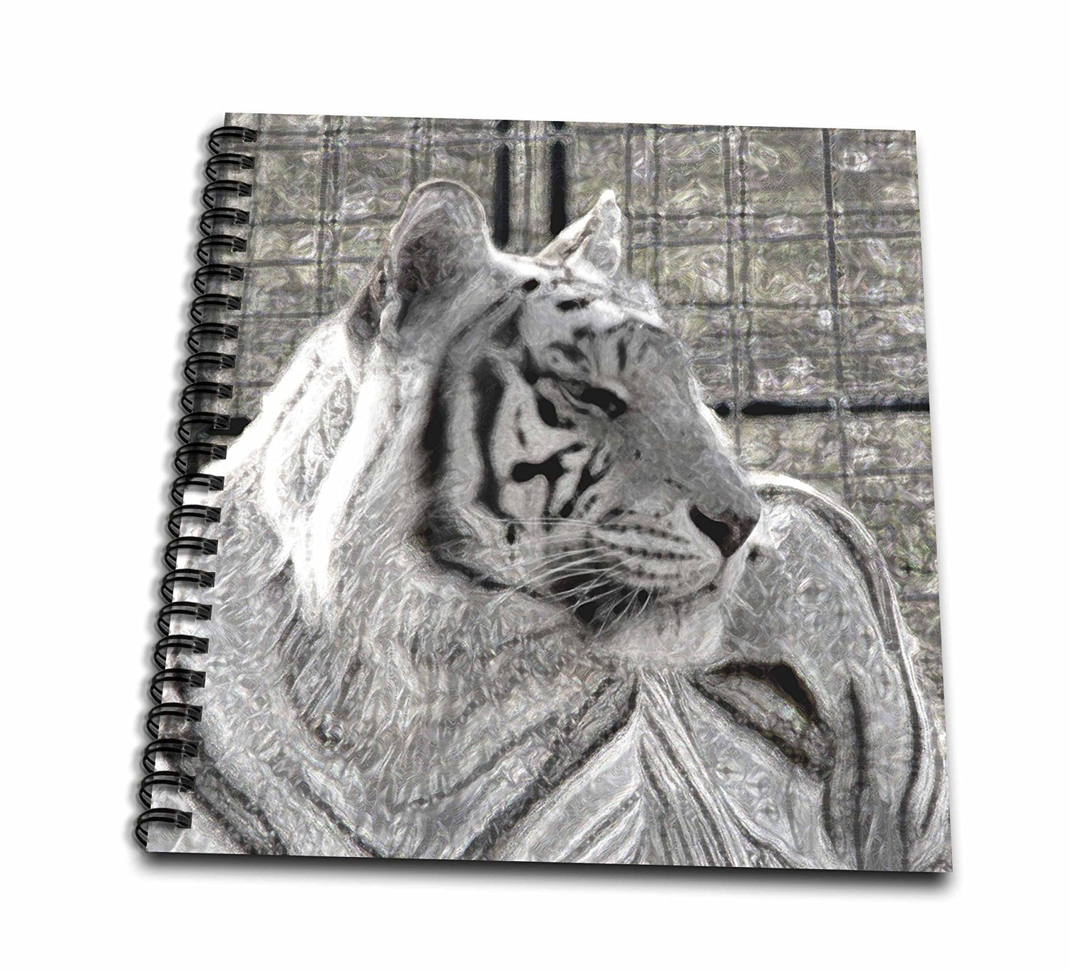Susans Zoo Crew Animals - white tiger looking right black and white sparkle - Memory Book 12 x 12 inch (db_184827_2)