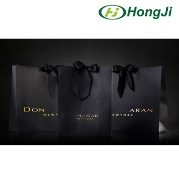 luxury matte balck paper shopping bag with ribbon handle design