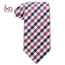 High Quality Plaid Woven Pure Natural Silk Scarf NecktieMan Tie Luxury Brand
