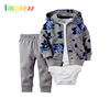 Baby clothes newborn 3 pieces long sleeve flower printed cotton cardigan set with bodysuit