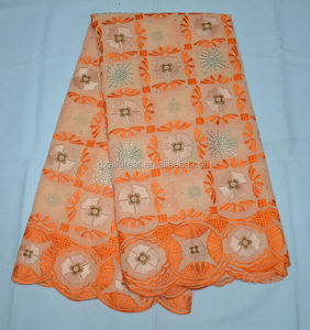 AG2864#1 peach+orange African swiss lace