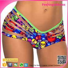 Colorful Little Skull Print Bottom Sexy Cheap Women Bikini Panty Pictures