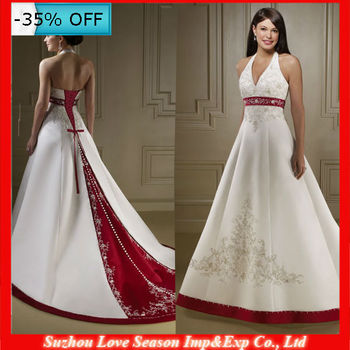 WD1512 Sleeveless Red And Gold Sash White Satin Sewing Lace Embroidery Up Back V