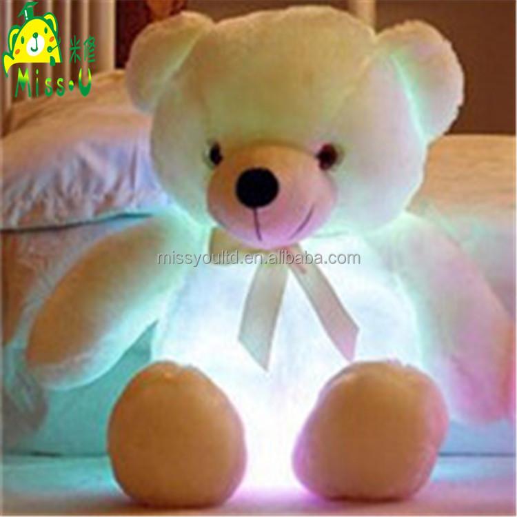 High Quality Stuffed Soft Plush LED Toys Night Lighting Colorful Bear