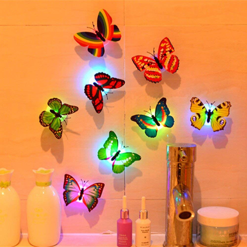 CieKen 10PCS Romantic Butterfly light Change Colors Stick-on Butterfly Wall Xmas Decorative Light Stick on Wall light LED Night Light