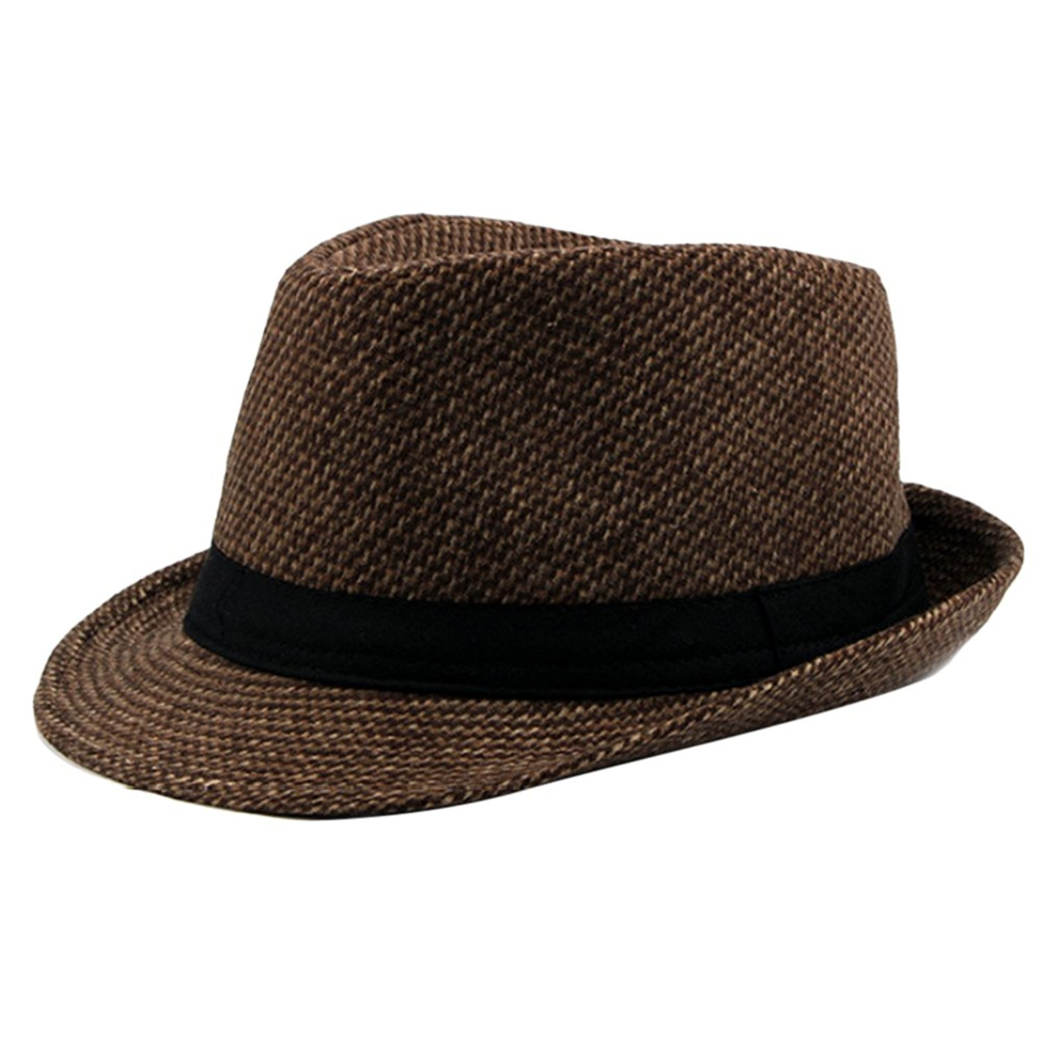 Get Quotations · Zhhlinyuan Mens Warm Winter Tweed Fedora Trilby Hat Jazz  Hat with Black Band ece4daac943b