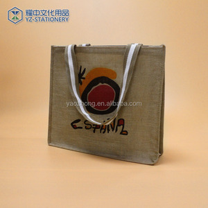 Wholesale Screen Printed Logo Natural Jute Drawstring Burlap Bags