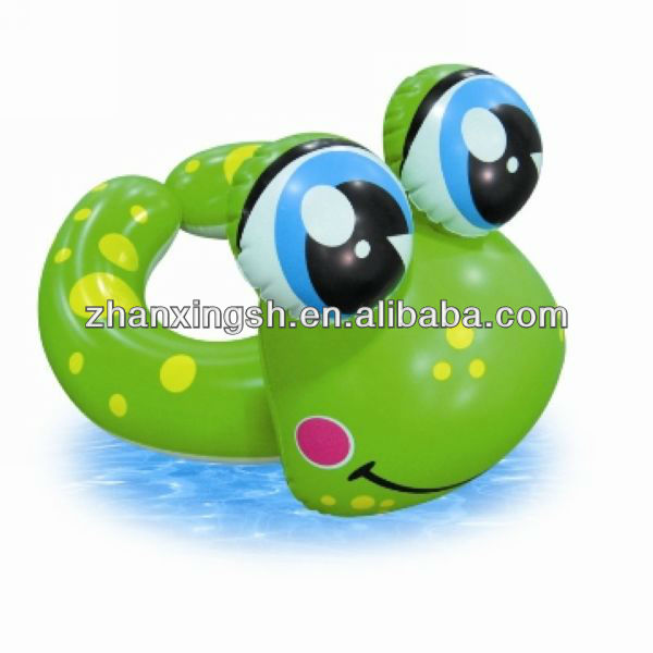 2014 shanghai zhanxing safe pvc inflatable frog baby neck swim ring for kids